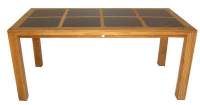 Medicis - Table de jardin-Medicis-Table en teck massif avec inserts granit 170x85cm
