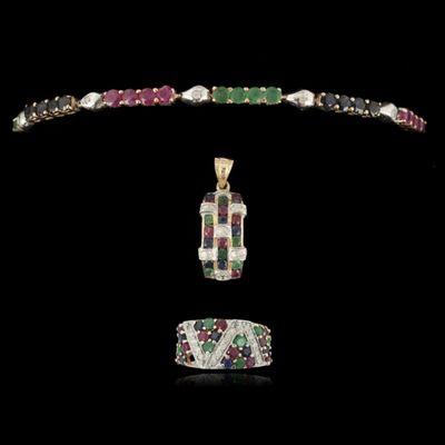 Expertissim - Parure de bijoux-Expertissim-Parure en or 14 kt, émeraudes, rubis et saphirs