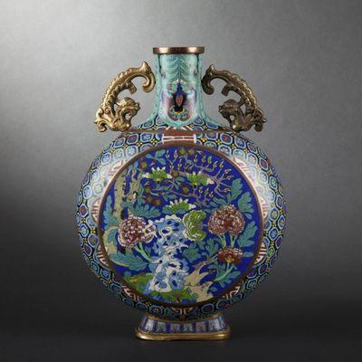 Expertissim - Gourde décorative-Expertissim-Gourde en émaux cloisonnés. Chine, fin XIXe siècle