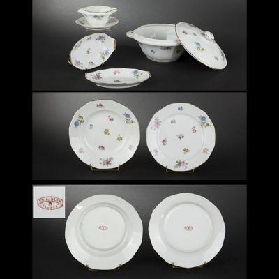Expertissim - Plat de présentation-Expertissim-Service de table en porcelaine de Limoges à décor
