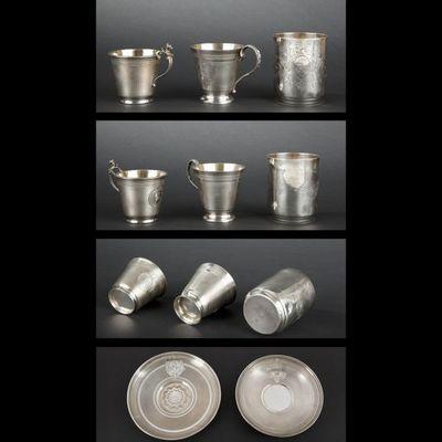 Expertissim - Timbale-Expertissim-Deux tasses et une timbale en argent d'époque Nap