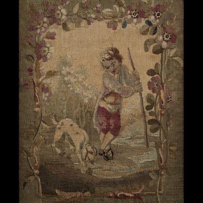 Expertissim - Tapisserie d'Aubusson-Expertissim-Paire de petits panneaux de tapisserie de la Manuf