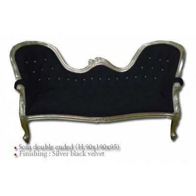 DECO PRIVE - Canapé 2 places-DECO PRIVE-canape baroque en bois argente et velours noir et