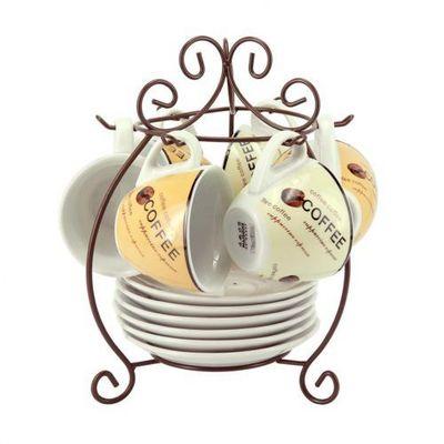 Maisons du monde - Porte-tasses-Maisons du monde-Support 6 tasses et soucoupes thé Coffee time