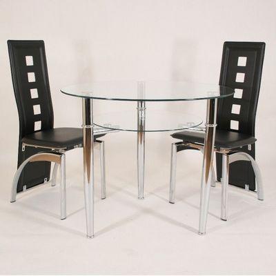CLEAR SEAT - Table de repas ronde-CLEAR SEAT-Table Ronde en Verre Jersey 90 cm 3 Pieds avec Tab