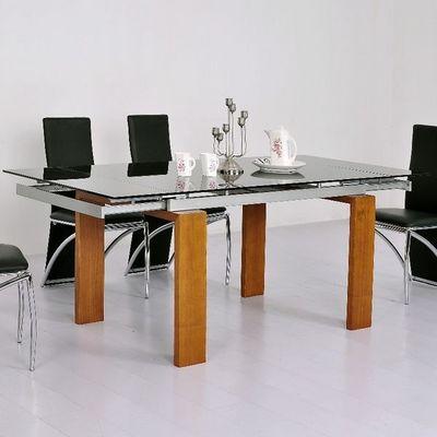 CLEAR SEAT - Table à rallonge-CLEAR SEAT-Table en Verre Noire à rallonge extensible Timor