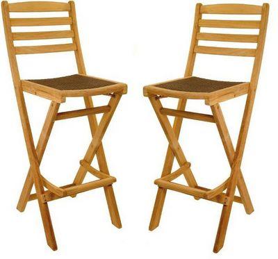 Medicis - Chaise haute de bar-Medicis-Chaises de bar en teck et résine tressée (par 2)