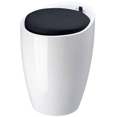 La Chaise Longue - Tabouret-La Chaise Longue-Pouf pop blanc en abs avec coussin noir  36x51cm