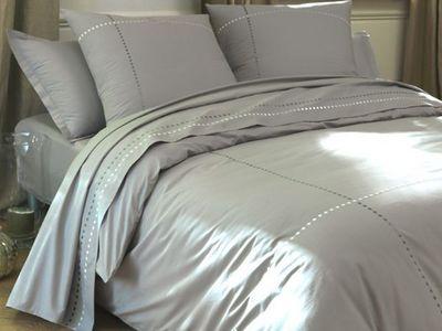 BLANC CERISE - Drap de lit-BLANC CERISE-Drap plat - percale (80 fils/cm²) - brodé