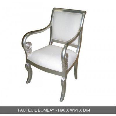 DECO PRIVE - Fauteuil-DECO PRIVE-Fauteuil en bois argente et simili blanc modele Bo
