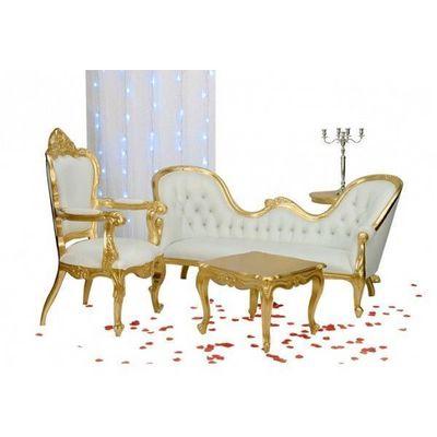 DECO PRIVE - Salon-DECO PRIVE-Meridienne double end dore et simili blanc et deco