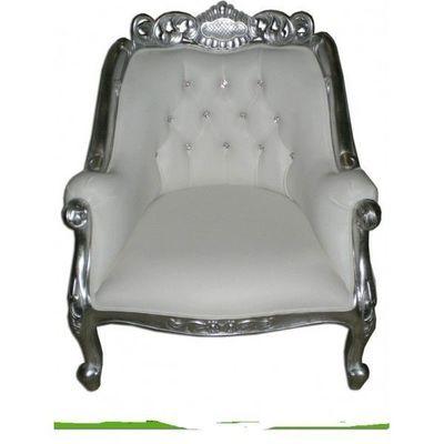 DECO PRIVE - Fauteuil-DECO PRIVE-Fauteuil baroque blanc aspect cuir blanc capitonne