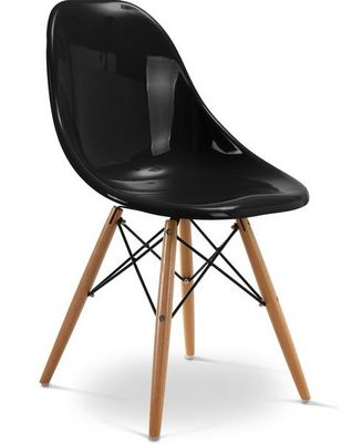 Charles & Ray Eames - Chaise r�ception-Charles & Ray Eames-Chaise noire design Eiffel SW Charles Eames Lot de