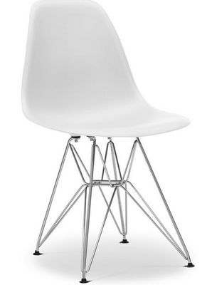 Charles & Ray Eames - Chaise réception-Charles & Ray Eames-Chaise blanche DSR Charles Eames Lot de 4
