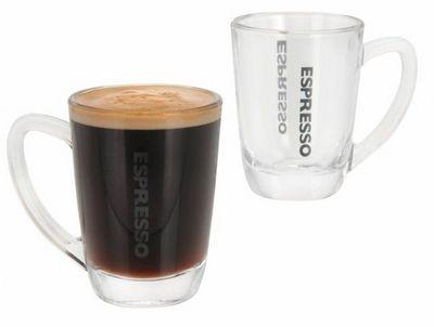 WHITE LABEL - Tasse à café-WHITE LABEL-4 verres expresso transparents avec anse anti-chal