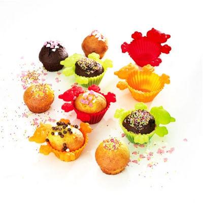 WHITE LABEL - Moule à muffins-WHITE LABEL-6 moules à muffins colorés en silicone