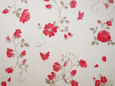 FLEUR DE SOLEIL - Tissu d'ameublement-FLEUR DE SOLEIL-Tissu Roses Taupe Rouge 160x160