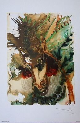 ARMAND ISRA�L - Lithographie-ARMAND ISRA�L-Buc�phale de Salvador DALI lithographie
