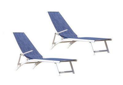 PROLOISIRS - Chaise longue de jardin-PROLOISIRS-Bain de soleil Linéa en Aluminium et textilène Jea