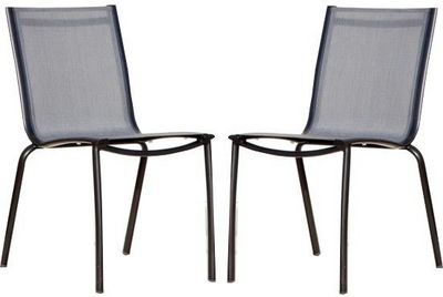 PROLOISIRS - Chaise de jardin-PROLOISIRS-Chaise Linea en aluminium et textil�ne argent (Lot