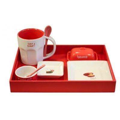 Cm - Service petit déjeuner-Cm-Plateau petit déjeuner - Couleur - Rouge