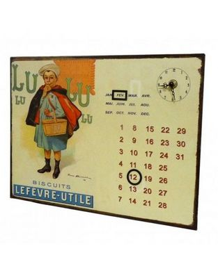 L'HERITIER DU TEMPS - Horloge murale-L'HERITIER DU TEMPS-Calendrier-pendule Plaque Pub Biscuits Lu