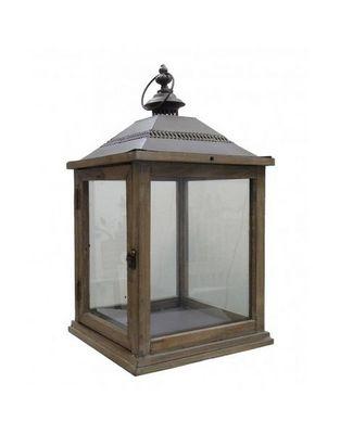 L'HERITIER DU TEMPS - Lanterne d'extérieur-L'HERITIER DU TEMPS-Lampe tempête bois fer marron