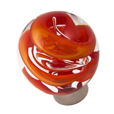 Les Verreries De Brehat - Bouton de porte-Les Verreries De Brehat-Tubes de bulles sphérique rouge chili