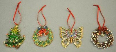 Demeure et Jardin - D�coration de No�l-Demeure et Jardin-Set de 4 d�corations de noel pour sapin � suspendr