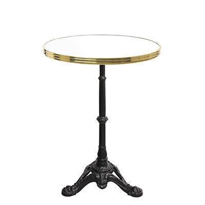 Ardamez - Table bistrot-Ardamez-Table de bistrot émaillée blanc / laiton / fonte