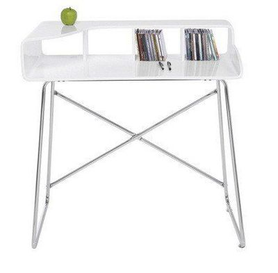 WHITE LABEL - Bureau-WHITE LABEL-Petit bureau STUDIO laqué blanc brillant, pieds ch