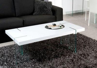 WHITE LABEL - Table basse rectangulaire-WHITE LABEL-Table basse design SCOOP blanche, pieds en verre.