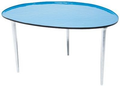 WHITE LABEL - Table basse forme originale-WHITE LABEL-Table basse SALVER bleue.