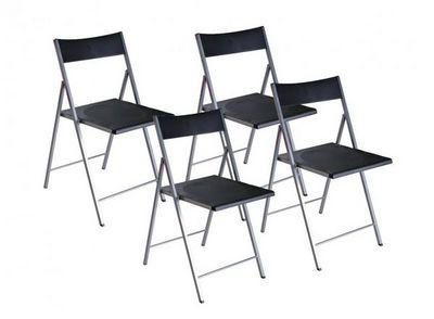 WHITE LABEL - Chaise pliante-WHITE LABEL-BELFORT Lot de 4 chaises pliantes noir