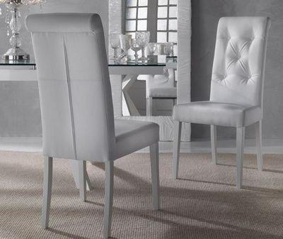 WHITE LABEL - Chaise-WHITE LABEL-Chaise coloniale BILLIONAIRE en simili cuir blanc