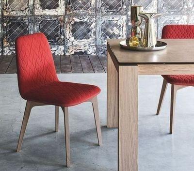 Calligaris - Chaise-Calligaris-Chaise SAMI en bois naturel et tissu rouge de CALL