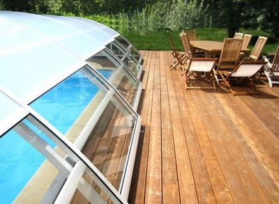 Abri piscine POOLABRI - Abri de piscine haut coulissant ou télescopique-Abri piscine POOLABRI