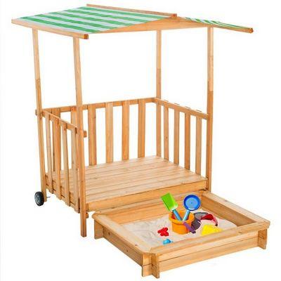 WHITE LABEL - Bac à sable-WHITE LABEL-Bac à sable enfant bois + toit