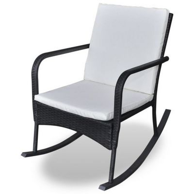 WHITE LABEL - Rocking chair-WHITE LABEL-Fauteuil à bascule pour jardin rotin
