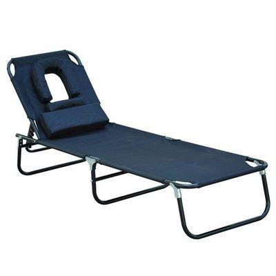 WHITE LABEL - Bain de soleil-WHITE LABEL-Transat de jardin pliable chaise longue noir