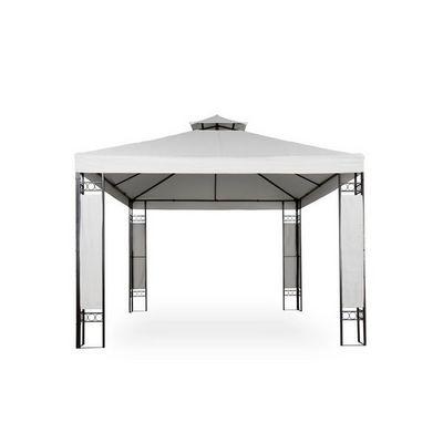 WHITE LABEL - Tonnelle-WHITE LABEL-Tonnelle de jardin pavillon métal 4x3 blanc