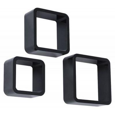 WHITE LABEL - Etagère-WHITE LABEL-Étagère murale x3 cube design noir