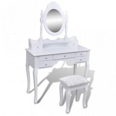 WHITE LABEL - Coiffeuse-WHITE LABEL-Coiffeuse avec miroir et tabouret blanc