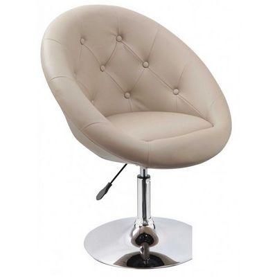 WHITE LABEL - Fauteuil rotatif-WHITE LABEL-Fauteuil lounge pivotant cuir beige
