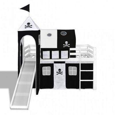 WHITE LABEL - Lit enfant-WHITE LABEL-Lit mezzanine blanc avec échelle toboggan et déco noir