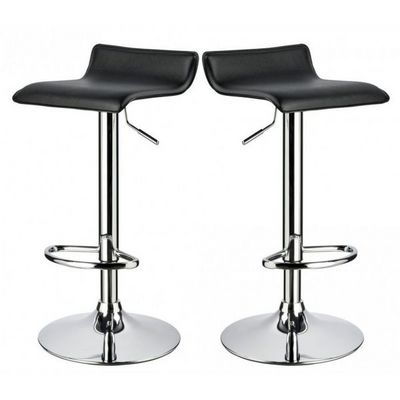 WHITE LABEL - Chaise haute de bar-WHITE LABEL-Lot de 2 Tabourets de bar noir