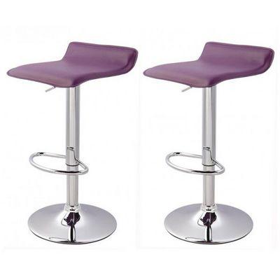 WHITE LABEL - Tabouret de bar-WHITE LABEL-Lot de 2 Tabourets de bar violet