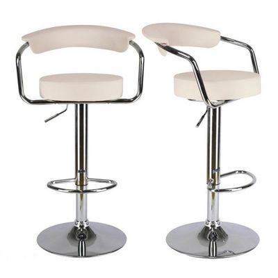 WHITE LABEL - Chaise haute de bar-WHITE LABEL-Lot de 2 tabourets de bar en cuir PU crème