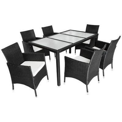 WHITE LABEL - Salle à manger de jardin-WHITE LABEL-Salon de jardin 6 chaises + table noir