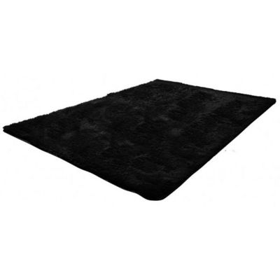 WHITE LABEL - Tapis contemporain-WHITE LABEL-Tapis salon noir poil long taille S